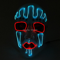 Ghost Shape Halloween Decorative Luminous EL wire Sound Active Mask Novelty Lighting LED Neon Cold Light Mask for Masquerade