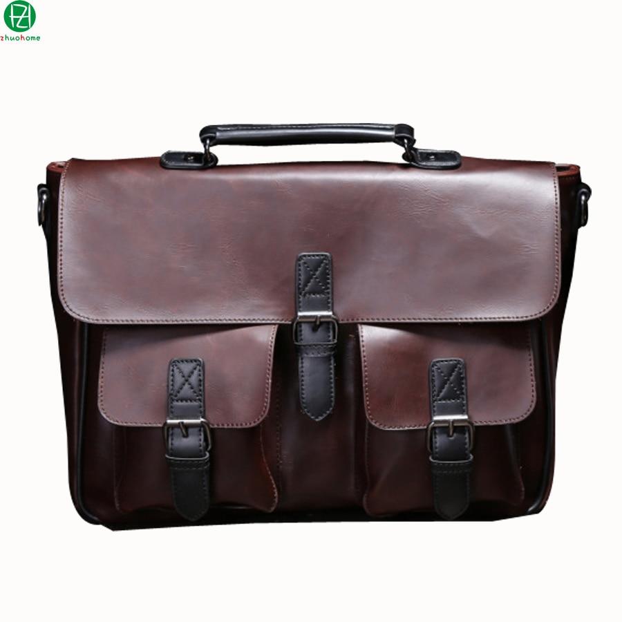 ФОТО Crazy horse Leather men Handbags Vintage Multipurpose men Handbag Shoulder Bags Brand Business men bag new Fashion messenger bag