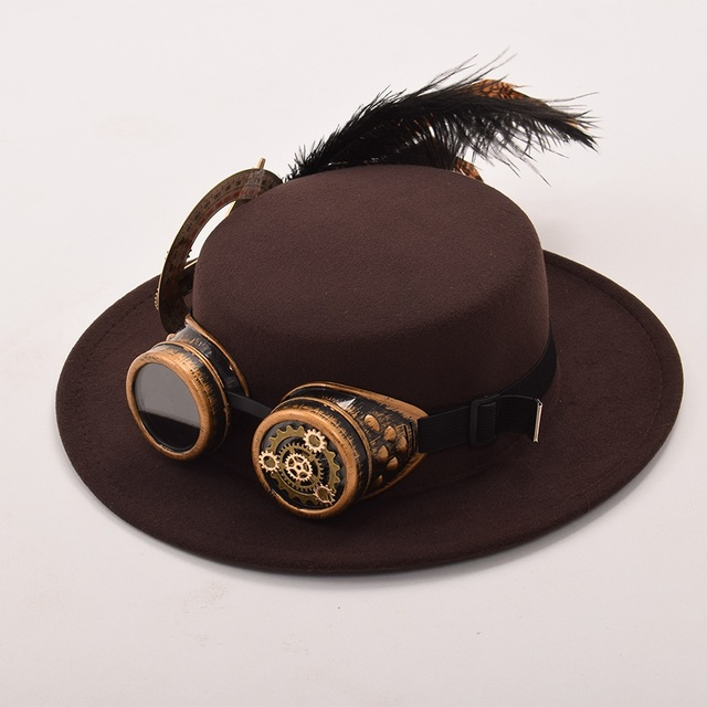 Шляпа в стиле стимпанк с очками вариант 5 4