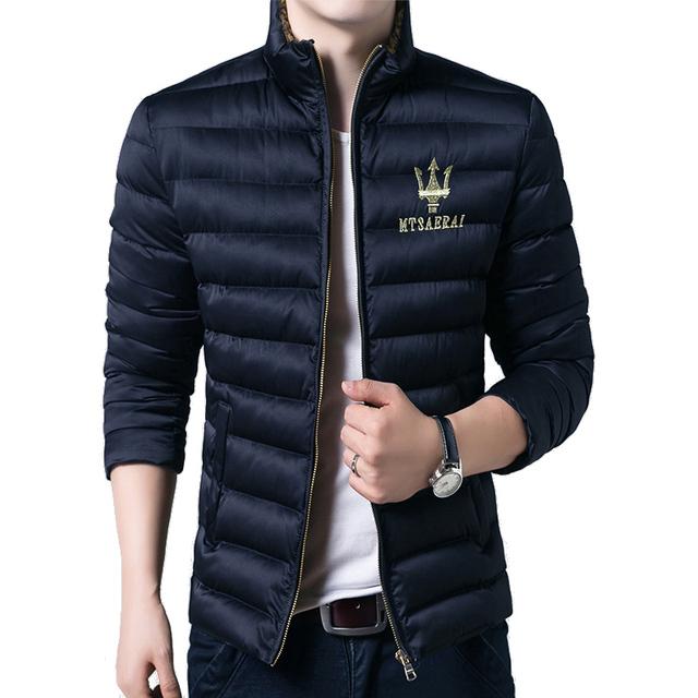 2017New para baixo casaco de homem clássico da moda inverno quente grosso crown padrão impresso jaqueta de algodão dos homens plus size 3XL 4XL 5XL