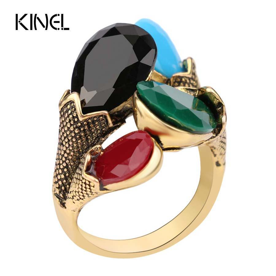 2015 Fashion Jewelry For Women Charm Red Green Four Color    Gold Color Vintage Rings Wholesale Free Shipping