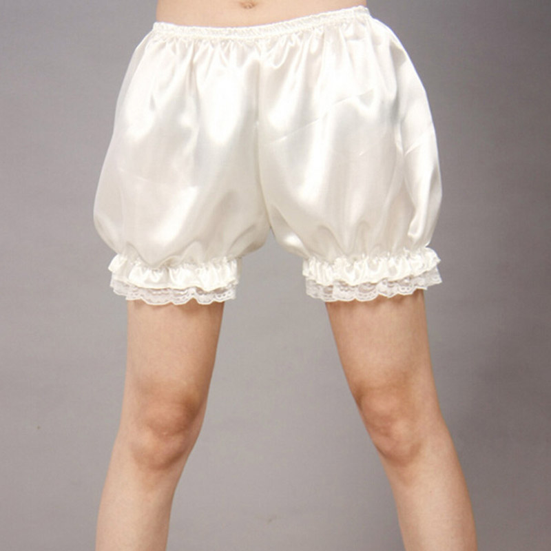 Drawers satin pumpkin pants petticoat small costume White ladies free size (white)(China)