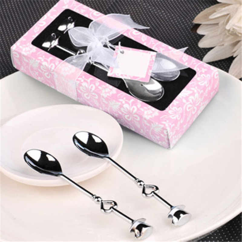 2PCS Heart Shaped Love coffee tea measuring Spoon Wedding lover gift stainless steel dinner tableware sets wholesale retail