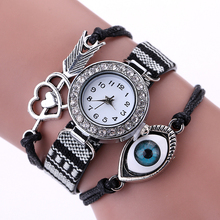New Women Eye Watch Heart Arrow Watch Girls Fashion Rhinestone Vintage Bracelet Watch relogio feminino bayan saat damen uhren