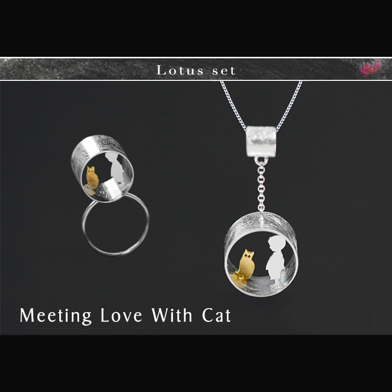 Lotus Fun Real 925 Sterling Silver Handmade Fine Jewelry Cute Meeting Love With Cat Jewelry Set
