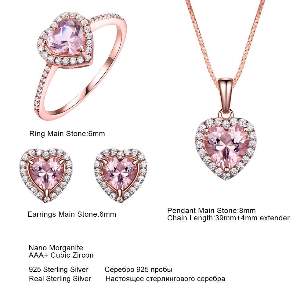 Ensemble de bijoux en argent Sterling 925 UMCHO pour femmes romantique coeur Morganite pendentif boucles d'oreilles fête saint valentin bijoux fins - 5