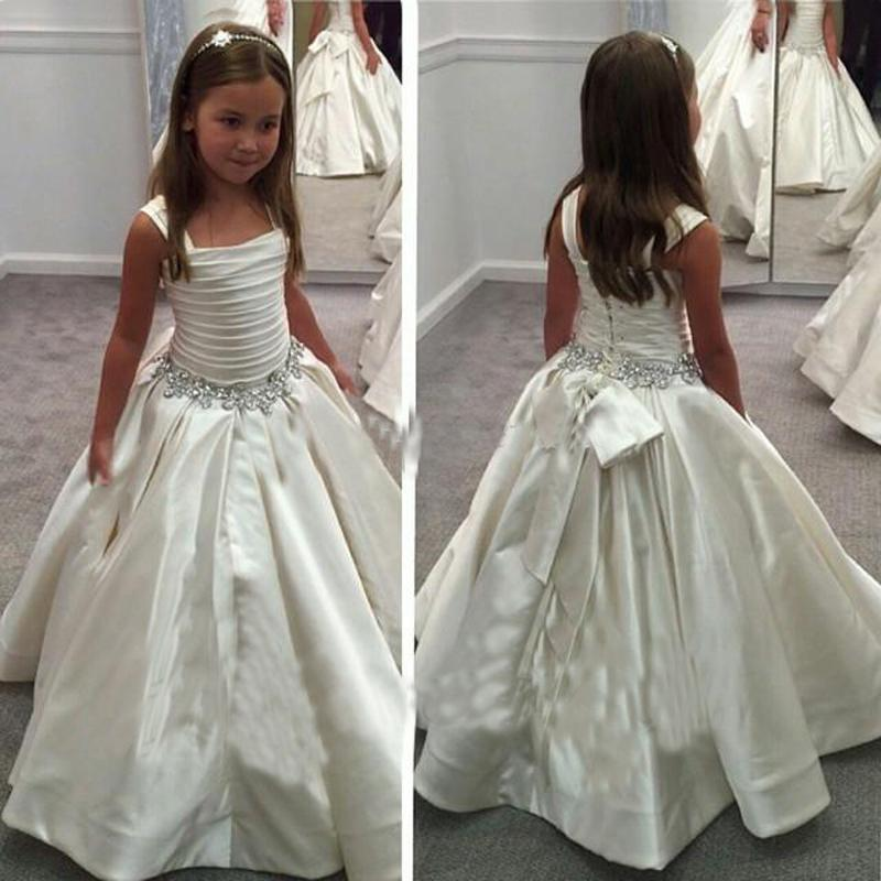 Ivory Satin Floor Length   Flower     Girl     Dresses   Beaded Prom Gown for Weddings Pageant First Communion