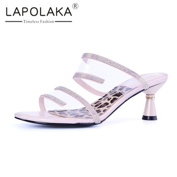 Lapolaka Fashion Hot Sale 2019 Open Toe Summer Shoes Woman Pumps Mules Strange Style 3 Colors Summer Pumps Woman Shoes