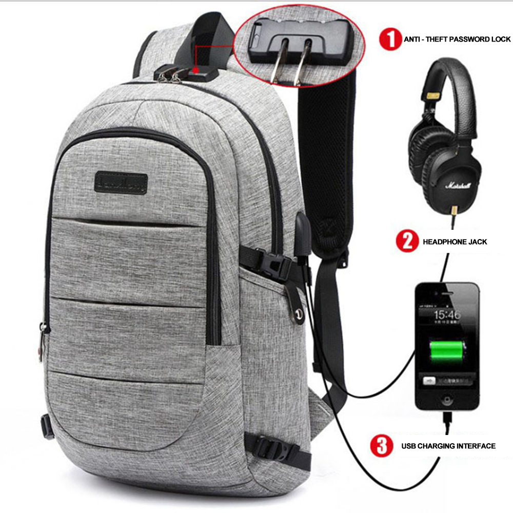 Men Anti Theft 15.6 inch Laptop Backpack USB Notebook Backpacks Waterproof Password Lock School Bag For Women Teenager Mochila