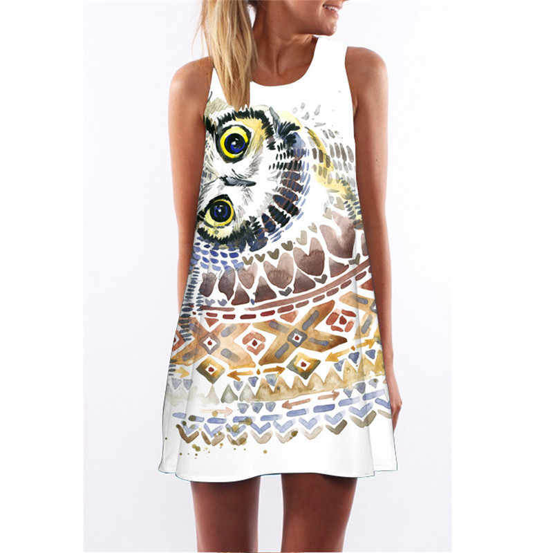 Summer Sleeveless Women Dress 2018 Elegant Ladies Club Party Dresses Robe Geometric Owl Printed 3D Vintage Short Beach Dress