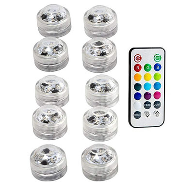 Подводные светодиодные лампы водонепроницаемый SMD3528 RGB подводный ночник Свадебный Чай Ваза-лампа чаша вечерние новогодние гирлянды - Испускаемый цвет: 10 Lamp 1 controller