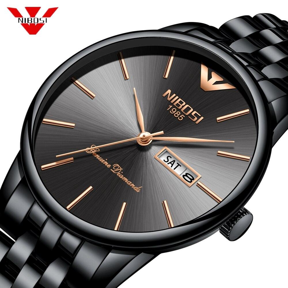 NIBOSI Simple Style Fashion Men Quartz Watch Luxury Week Date Steel Band Waterproof Casual Men's Wrist Watch Relogio Masculino