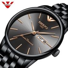 NIBOSI פשוט סגנון אופנה גברים קוורץ שעון יוקרה שבוע תאריך להקת פלדה עמיד למים מזדמן גברים של שעון יד Relogio Masculino