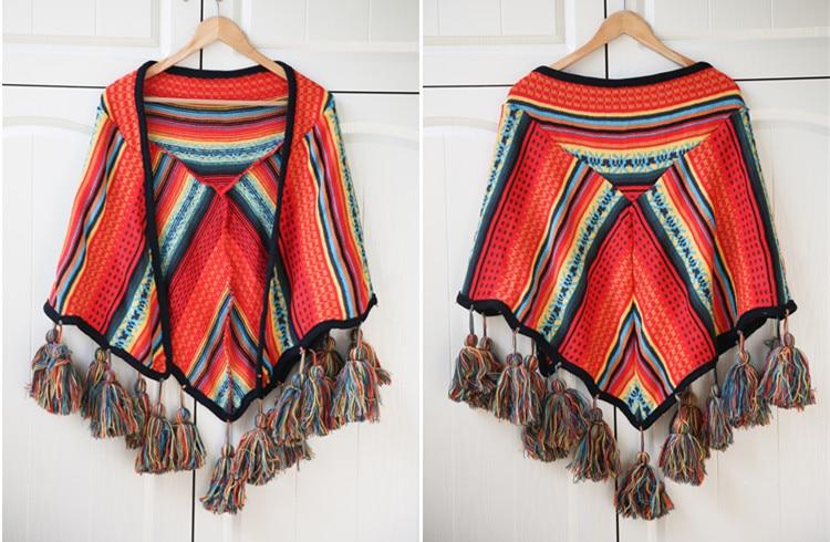 Богемный Радужный Цвет Толстая ручная вязка кисточками шаль бахромой шарф плащ геометрический пончо толстовка кардиганы путешествия одеяла