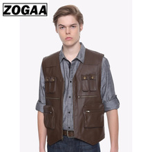 ZOGAA Men Leather Jacket Coat Casual Black Brown Vintage Sleeveless PU Vest Zipper with Large Pockets