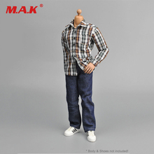 1/6 Clothing Male Men's Suits Brown White Plaid Shirt+Jeans Set For 12″ Action Figure Doll Body Toys Accessories