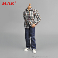 1/6 Clothing Male Men's Suits Brown White Plaid Shirt+Jeans Set For 12