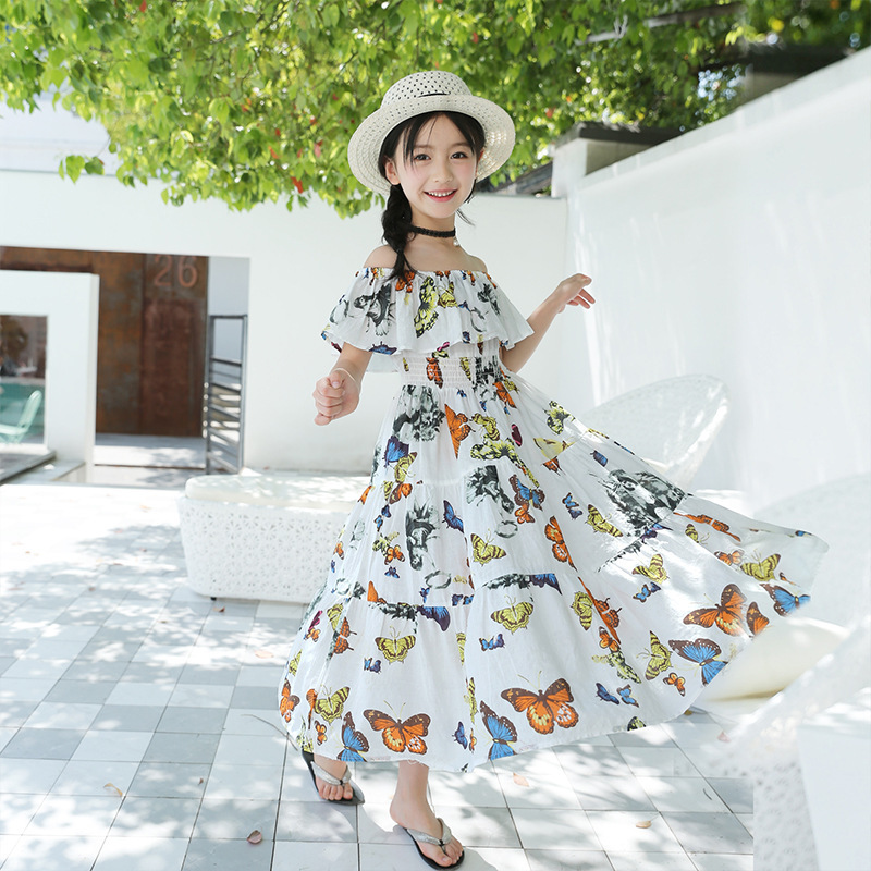2018 New Children's Summer Dresses Big Kids Girls Waist Floral Butterfly Cotton Bohemian Dress #2 bohemian bell sleeve floral midi dress