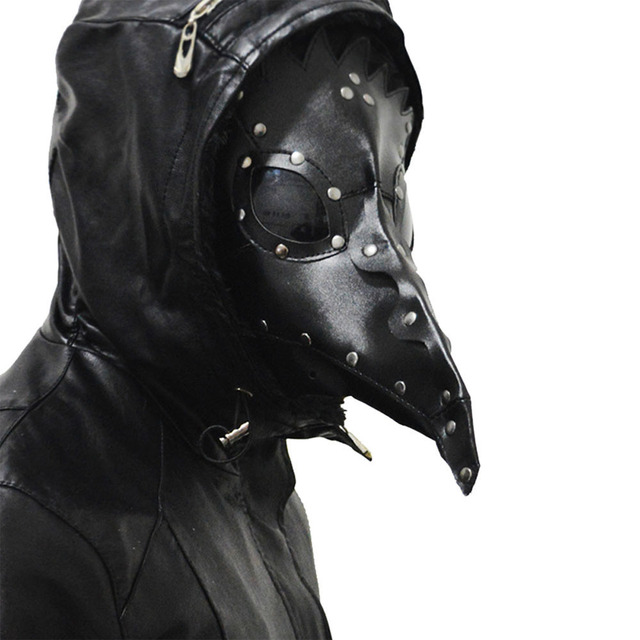 Coslive Steampunk Plague Doctor Mask Black PU Leather Halloween Masquerade Masks For Men Adult Cosplay Mask 1