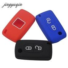 jingyuqin 30pcs/lot Silicone Car Key Case for Citroen C4 C5 C3 Xsara Picasso for Peugeot 207 308 407 307 Remote Fob Cover
