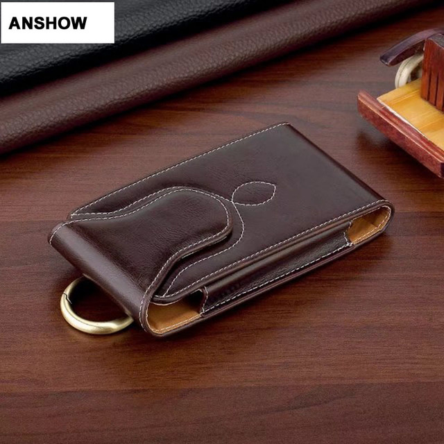 pretty nice 6e278 e5bd4 US $7.07 |ANSHOW Vertical Hip Holster Leather Clip Case For Iphone X 8  7/Plus/6 6S SE/Galaxy S8/S7/Edge/S6 S5 General Belt Flip Pouch-in Phone  Pouch ...