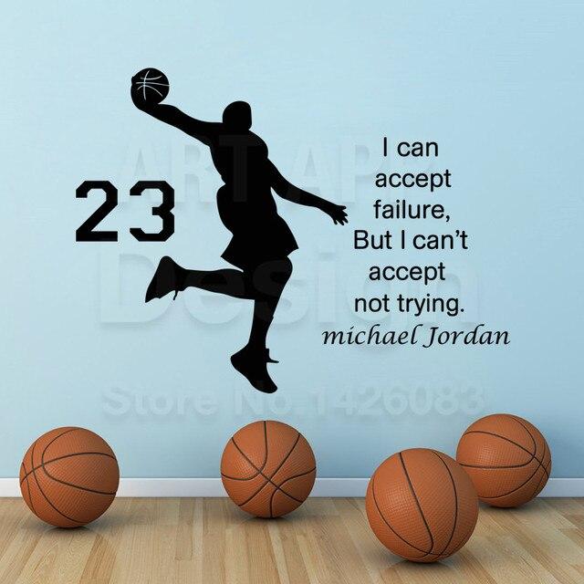 Top quality art design jordan home decoration cheap vinyl nba star wall sticker house decor michael