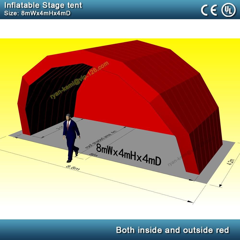 O envio gratuito de tamanho Personalizado 8mWx4mHx4mD vermelho palco inflável tenda
