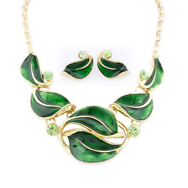 2018 Fashion Leaves 6 colors Jewelry Sets Enamel Jewelry statement Necklace And Earring  ...