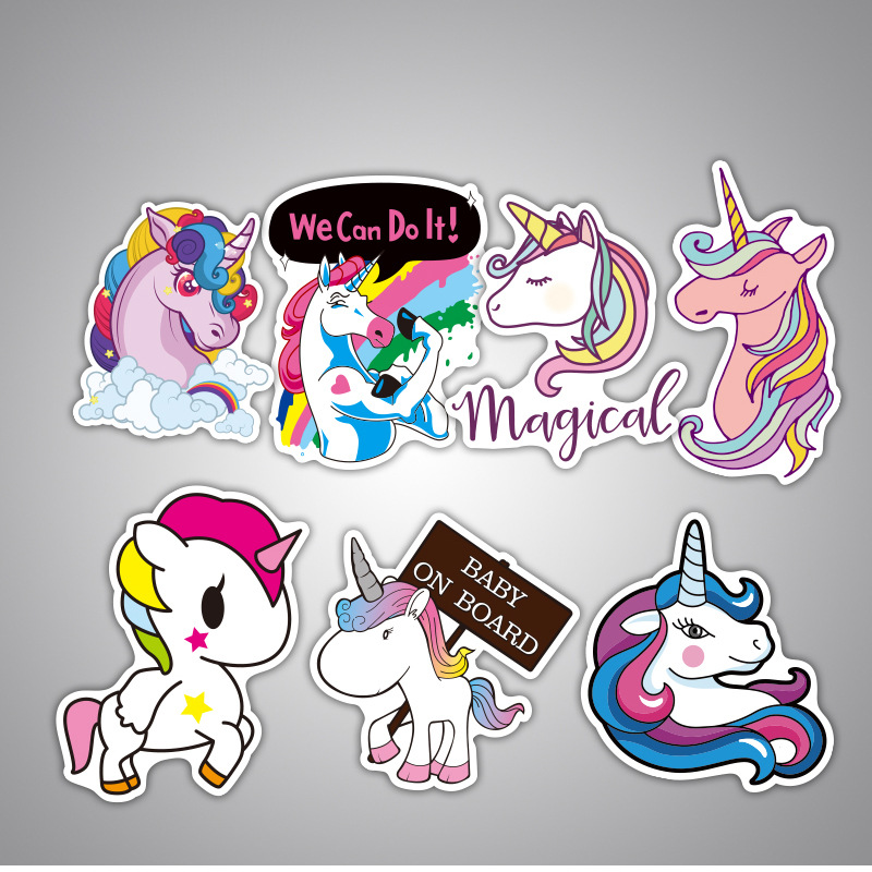 Image 4 - 7Pcs Multi Color Unicorn Car Sticker Waterproof Cartoon Horse For Computer Personalized Suitcase Notebook Car Stickers #B1312-in Car Stickers from Automobiles & Motorcycles