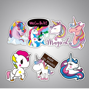 Image 4 - 7Pcs Multi Color Unicorn Car Sticker Waterproof Cartoon Horse For Computer Personalized Suitcase Notebook Car Stickers #B1312