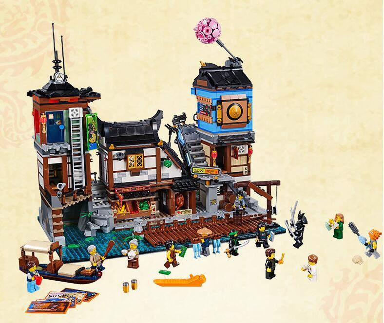 Ninja 06083 3979 шт. здание серии Совместимость 70657 КИНО СИТИ доки лодка корабль построение блоки кирпичи комплект игрушки