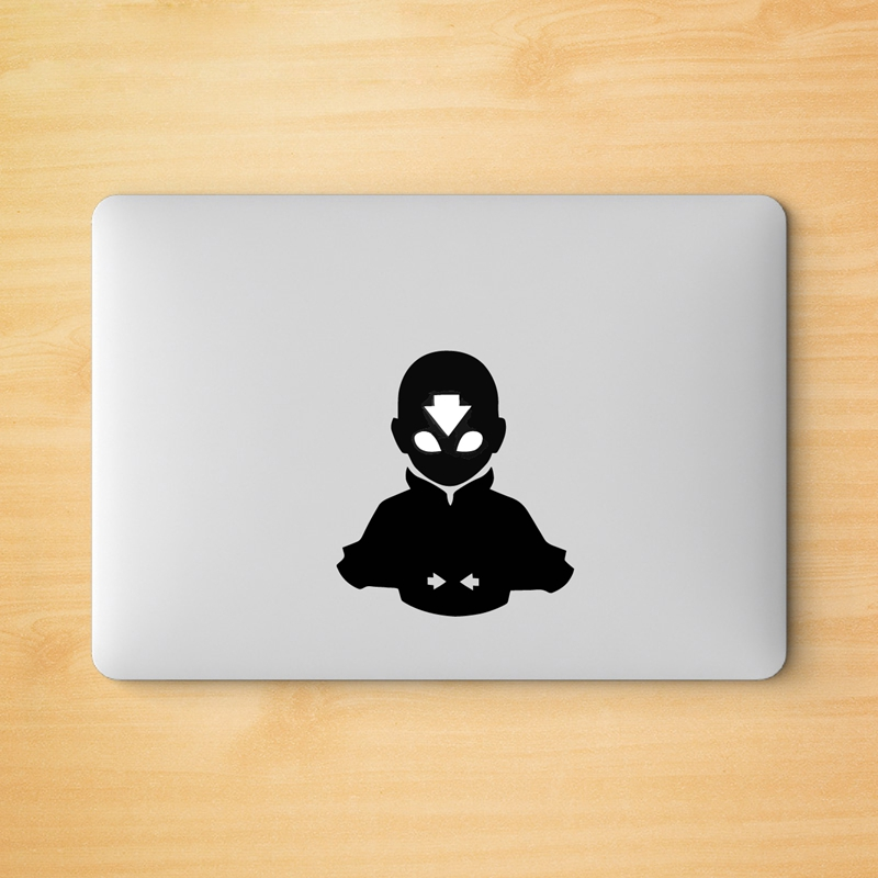 <font><b>Avatar</b></font> <font><b>Aang</b></font> Decal Laptop Vinyl Sticker for Apple Logo MacBook Retina Pro / Air Decoration image