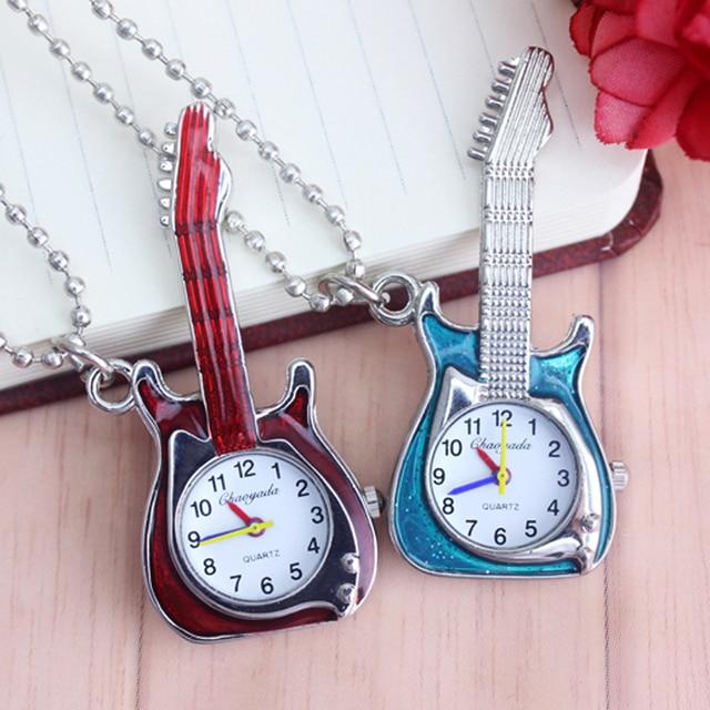 chaoyada Hot Fashion Vintage Retro Quartz Pocket Watch Guitar Shape Pocket Quart