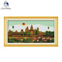Joy Sunday Scenery Style Angkor Wat Cross Stitch Patterns Sets For Embroidery Painting Room Decorative Counted