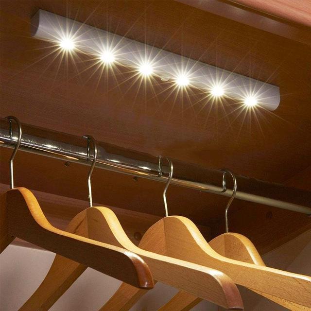 Draadloze Bewegingsmelder 6 LED Light Thuis Muur Night Stok Licht ...