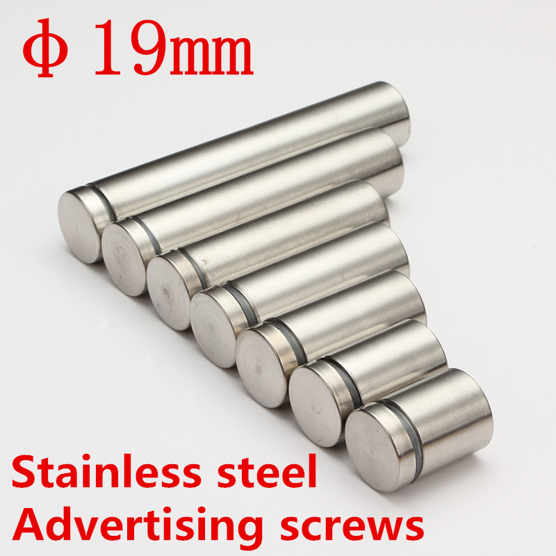 Dia.19mm/ M19 Stainless steel Advertisement Scews satin finish Fixing Screws Glass Standoff Pin dia 12mm m12 stainless steel advertisement scews satin finish fixing screws glass standoff pin