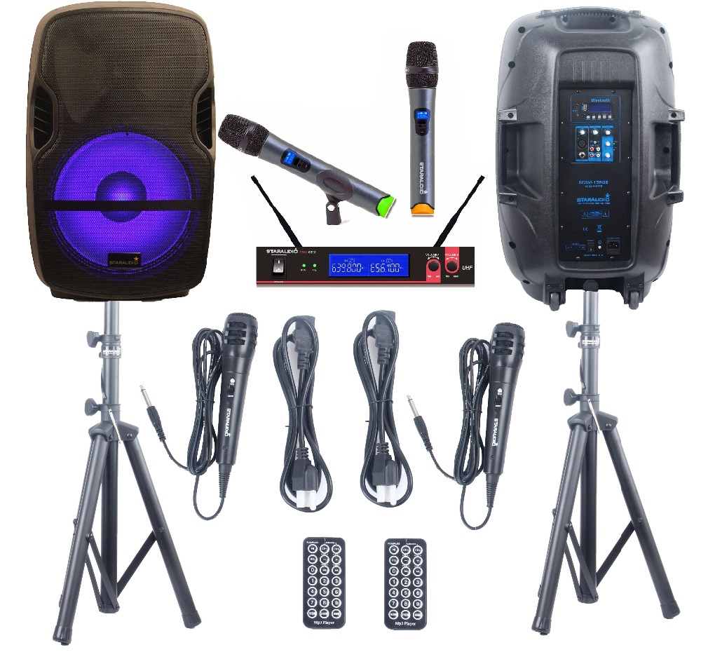 STARAUDIO 2Pcs 152000W PA DJ Karaoke Powered Active Stage BT Speakers W/Light Stands 2CH Wireless Mic 2 Wired Mics SCSM-15RGB