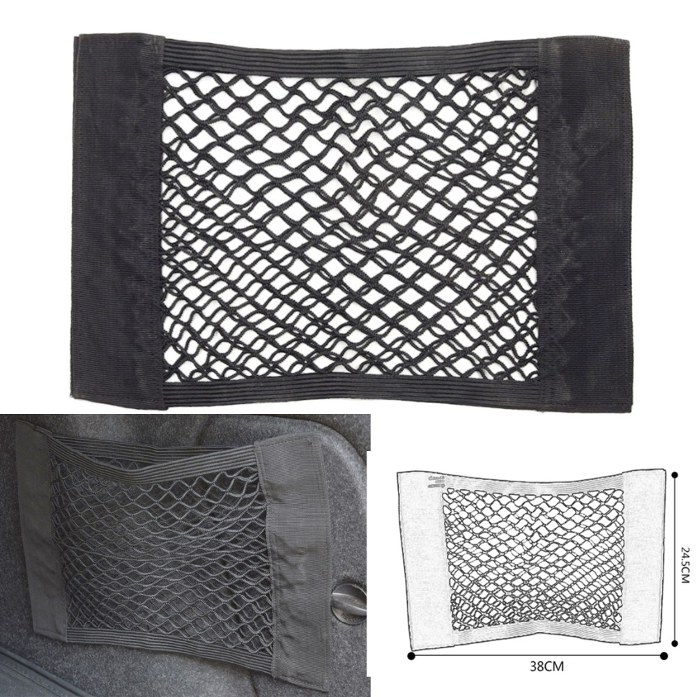 25x40cm universal car seat back bag elastic storage mesh net car organizer net rear trunk bags. Black Bedroom Furniture Sets. Home Design Ideas