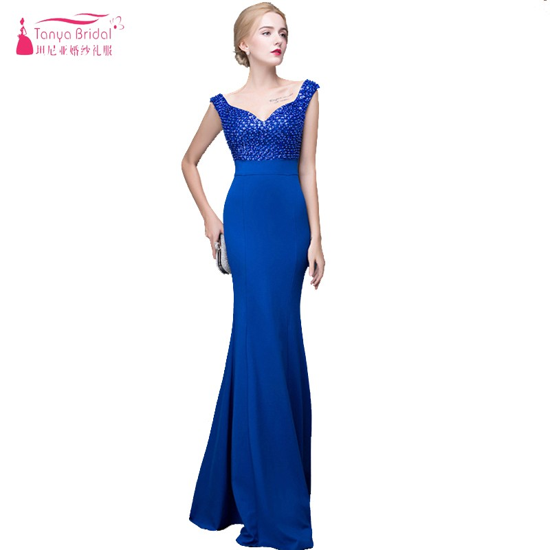 Royal Blue Mermaid   Bridesmaid     Dresses   Long Elegant Beaded V-Neck Maid Of Honor gown wedding guest   dress   Cheap Formal   Dress   ZB035