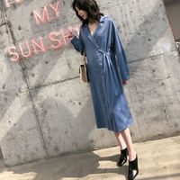 2019 Spring Summer Shirt Dress New Lapel Long Sleeve Midi Dress Medium Retro Waist Button High Waist Satin Dress 3 Ways To Wear