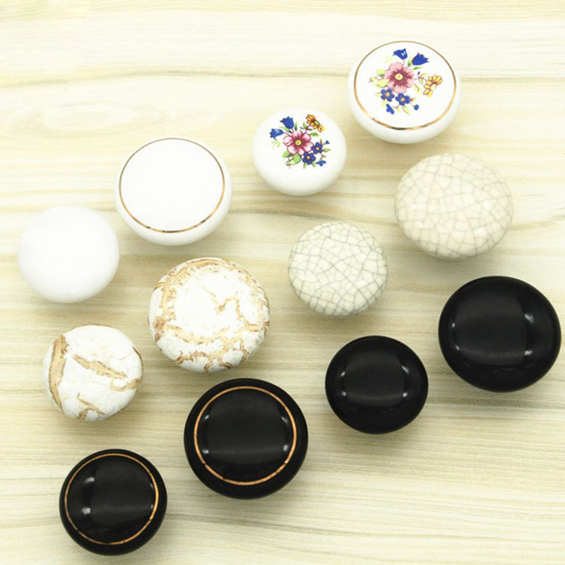 Retro Ceramic Door Handles European Antique Furniture Handle Drawer Pulls Kitchen Cabinet Handles and Knobs With Screws