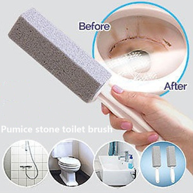 2 Pcs Lot Cleaner Wand Practical Water Toilet Bowl Pumice Stone Brush Cleaning