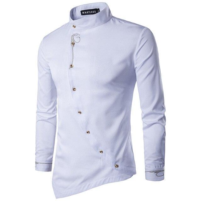 2018 г. новые модные мужские рубашки с длинным рукавом мужская одежда косой кнопку рубашки воротник-стойка Мужчины смокинг ShirtsPlain рубашка
