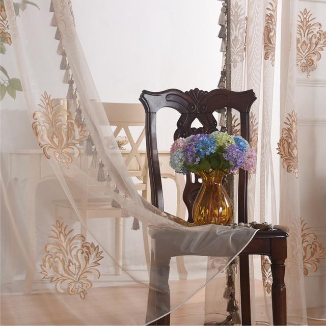 Europäischen Stil Apricot Besticktem Tüll Fenster Behandlung Grün Tüll  Endlosen Für Wohnzimmer Voile Gardinen Für Schlafzimmer
