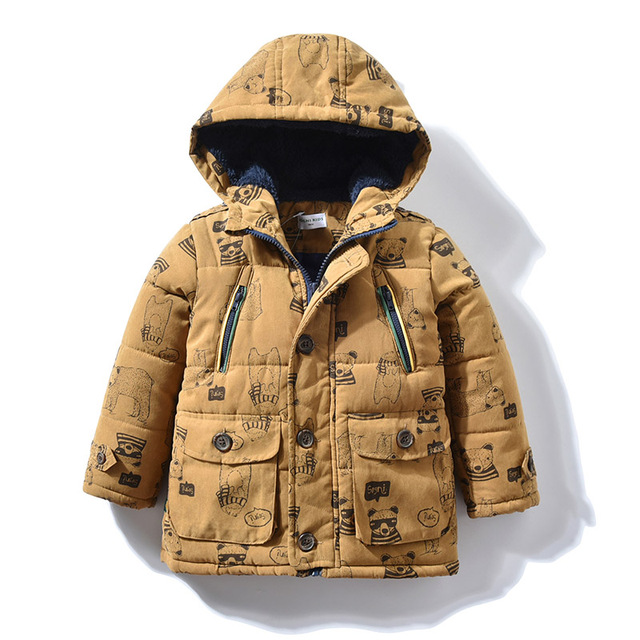 8af5cfae69ae Baby Boys Winter Coat with Bear Print Comic Brand Hooded Parka Warm Children  Outerwear Kids Long Jacket for 1 2 3 4 5 years