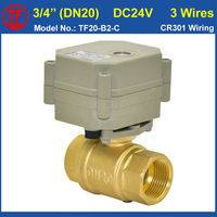 3 4 DC24V 3 Wires 2 Way Brass Full Port Motorized Ball Valve With Indicator