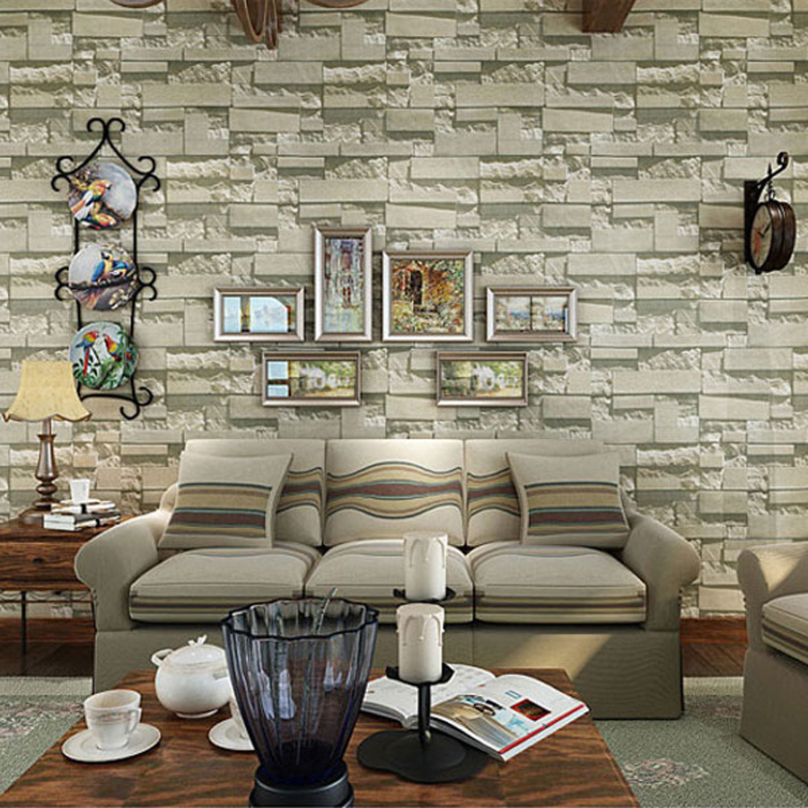 31 creative home interior design living room 2018 for Brick wallpaper living room ideas