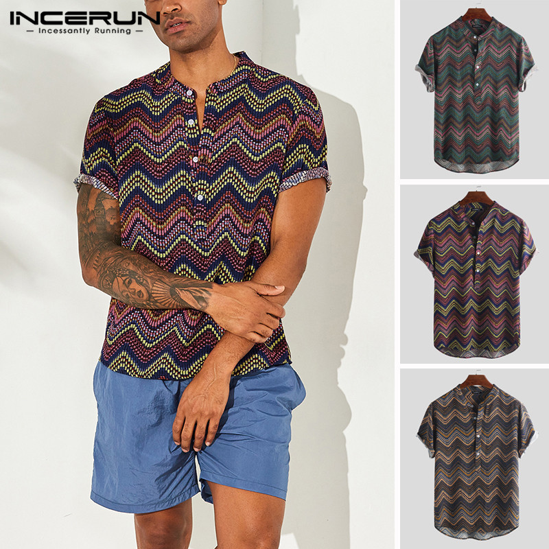 INCERUN 2019 Men Shirt Printing Short Sleeve Vintage Streetwear Tops Stand Collar Pullovers Casual Hawaiian Shirts Men Camisa