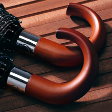 Male Umbrella Paraguas Wooden-Handle Classic Rain-Quality Large Windproof Business Brand