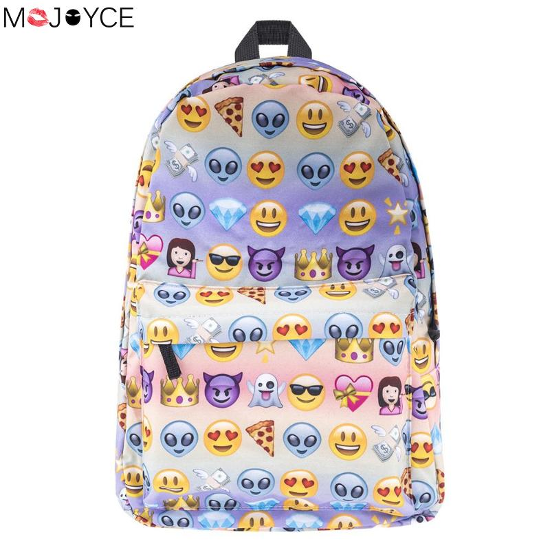 Emoji Donut Panda Backpack 3D Cute Printing Backpack Women Waterproof Nylon Backpacks Teenage Girls SchoolBag Bolsa Mochila
